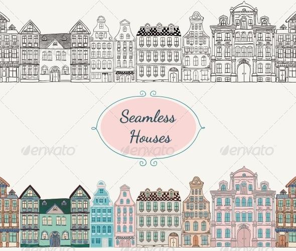 GraphicRiver Seamless Old Styled Houses 8241446