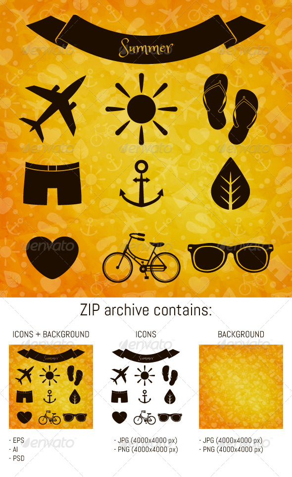 GraphicRiver Summer Icons 8241455