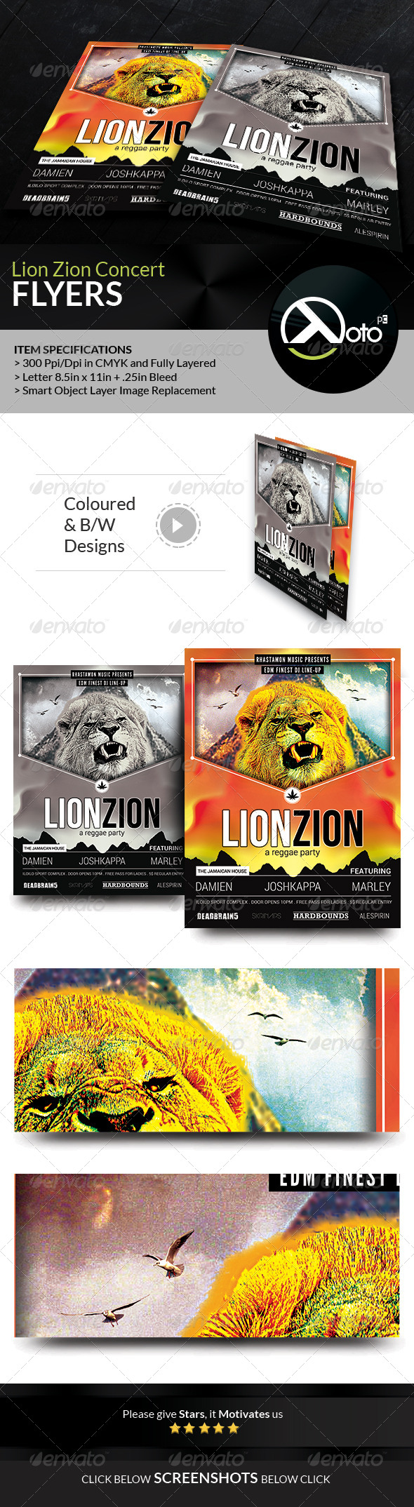 GraphicRiver Reggae Lion Zion Concert Flyer 8241462
