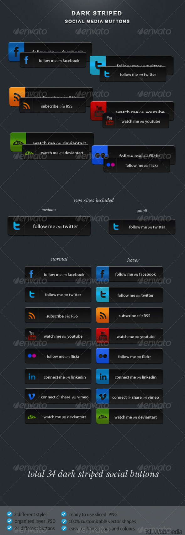 Dark Striped Social Buttons - Buttons Web Elements
