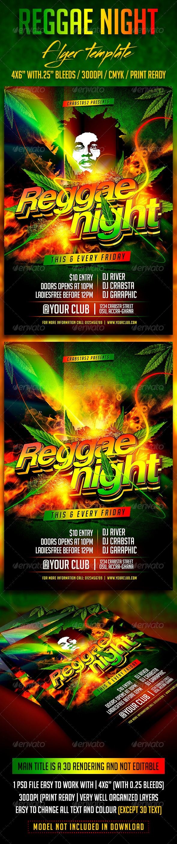 GraphicRiver Reggae Night Flyer Template 8241895