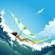 Wind Surfer Girl on a Wave - GraphicRiver Item for Sale