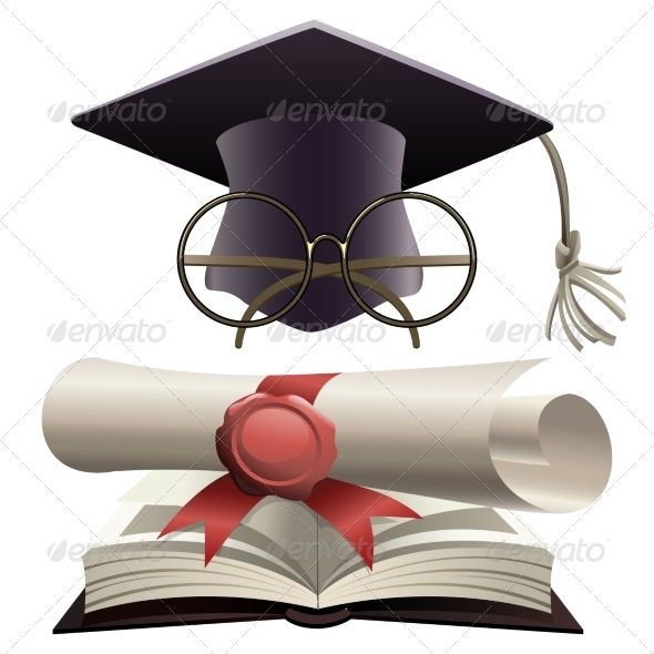 GraphicRiver Bachelor Hat with Glasses and Diploma 8241998