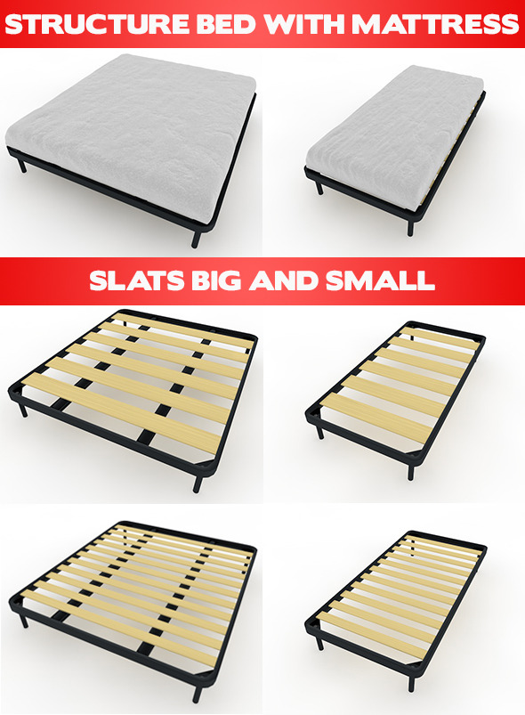 3DOcean Bed Mattress and Slats 8242127
