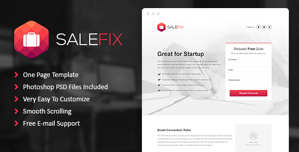 ThemeForest SaleFix Unbounce Template 8242345