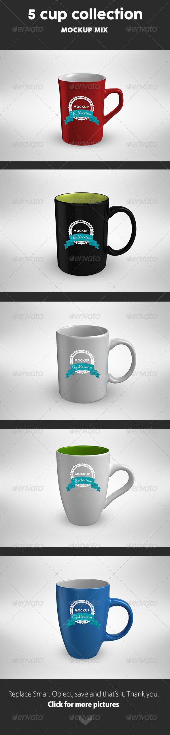 GraphicRiver 5 Cup MockUp mix 8242420