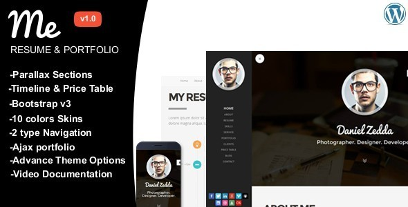 ThemeForest ME Multipurpose Resume & One Page Portfolio 8164235