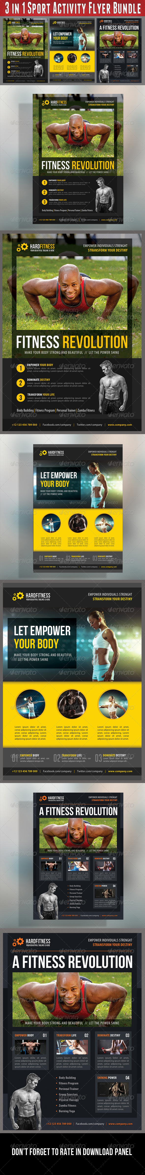 GraphicRiver 3 in 1 Sport Activity Flyer Bundle 09 8242476