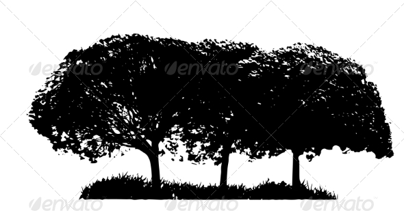 GraphicRiver Tree Silhouettes 8242518
