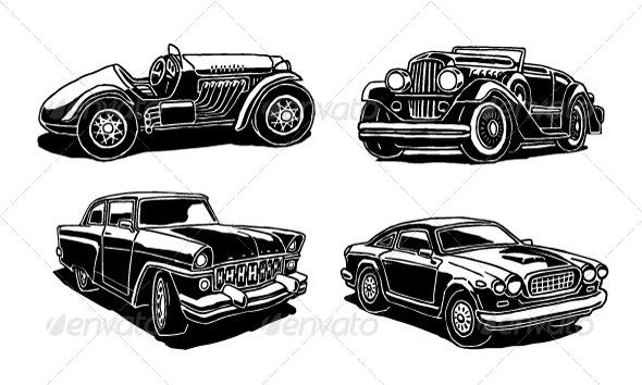 GraphicRiver Retro Cars Set 8242525