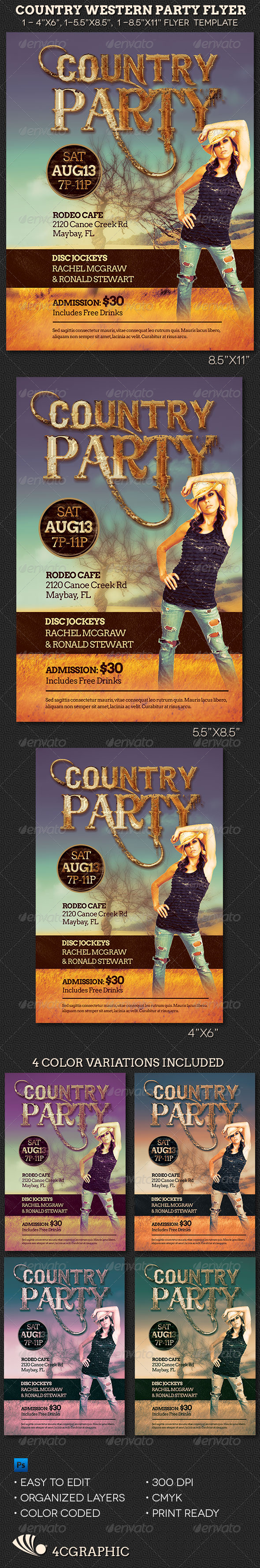 GraphicRiver Country Western Party Flyer Template 8242617