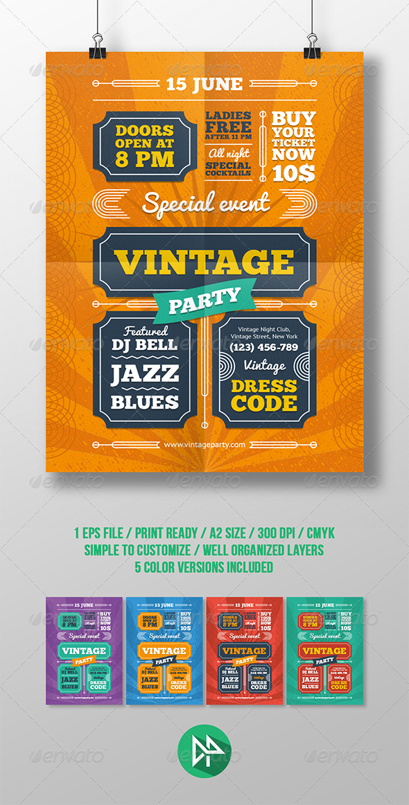 GraphicRiver Vintage Party Poster Template 8242638