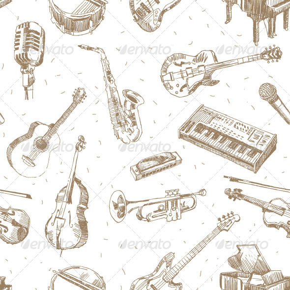 GraphicRiver Music Instruments Pattern 8242652