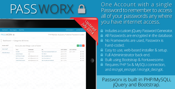 Passworx Password Locker - CodeCanyon Item for Sale