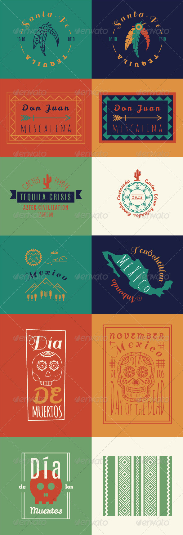 GraphicRiver Mexican set Insignias Bundle 8242769