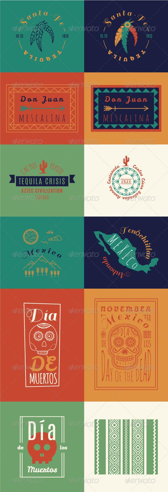 GraphicRiver Mexican set Insignias Bundle 8242769