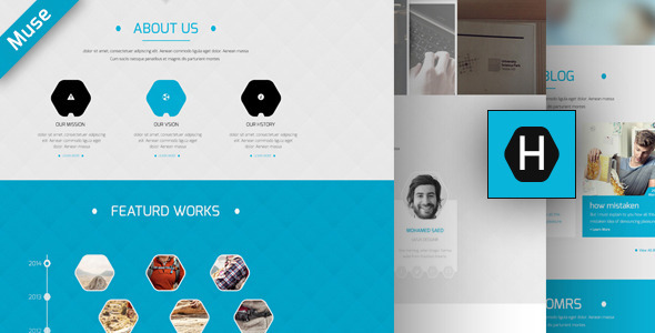 ThemeForest Hexa OnePage Creative Muse Template 8242793