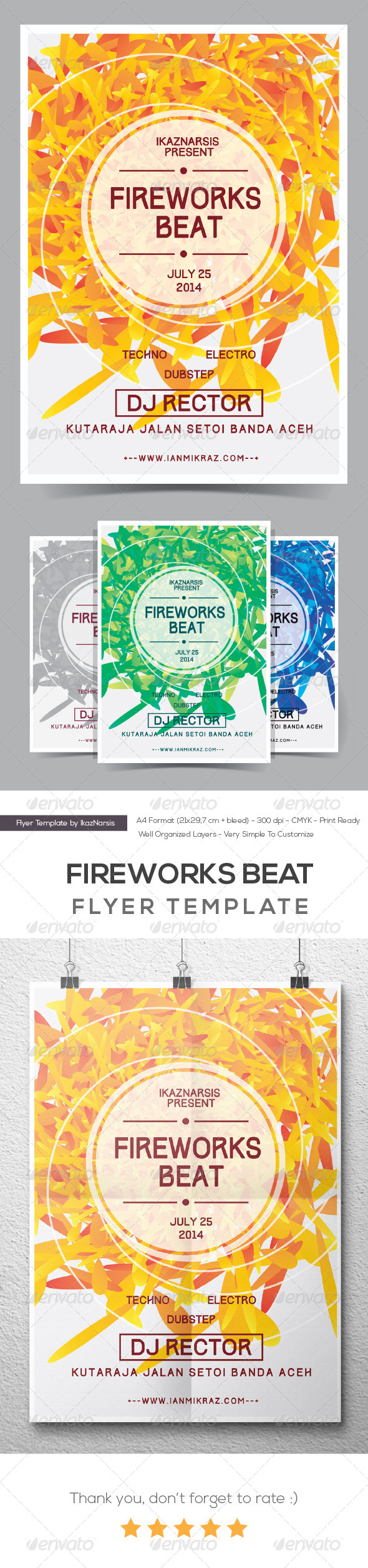 GraphicRiver Fireworks Beat Flyer Poster 8242857