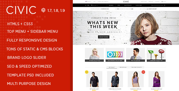 ThemeForest Civic Responsive Multipurpose Magento Theme 8242937
