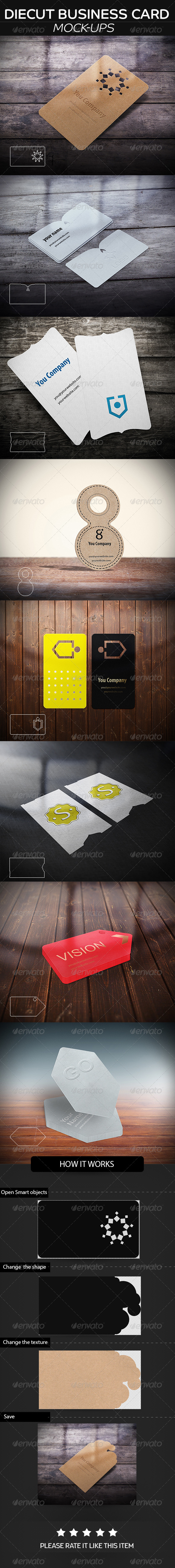 GraphicRiver DieCut Business Card Mockup 8243376
