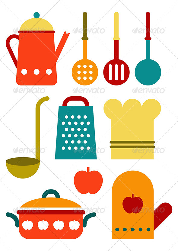 GraphicRiver Colorful Kitchen Utensil Set 8242272