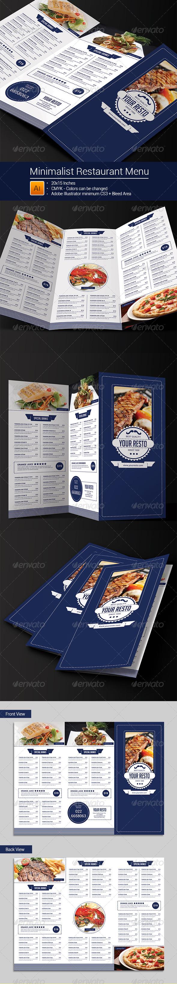 GraphicRiver Minimalist Trifold Restaurant Menu 8245216