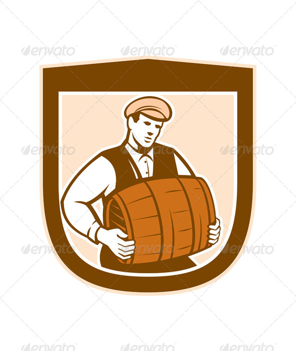 GraphicRiver Bartender Carrying Keg Shield 8245539