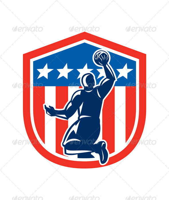 GraphicRiver American Basketball Player Dunk Shield 8245544
