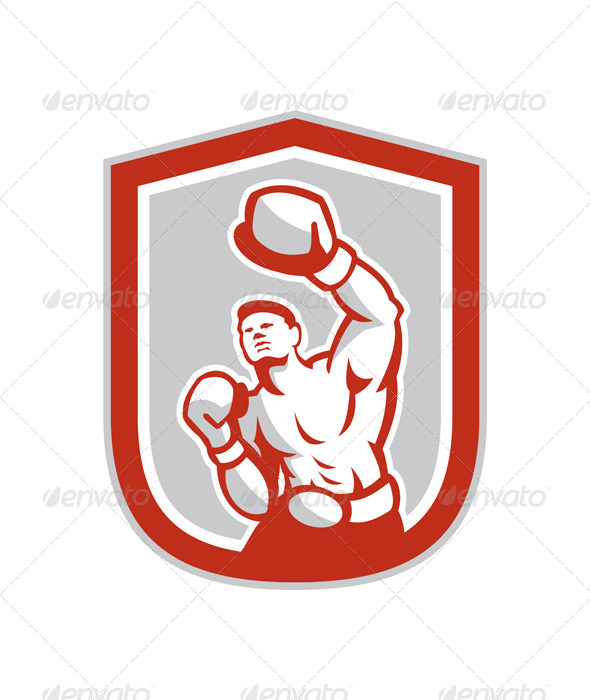 GraphicRiver Boxer Boxing Punching in Shield 8245548