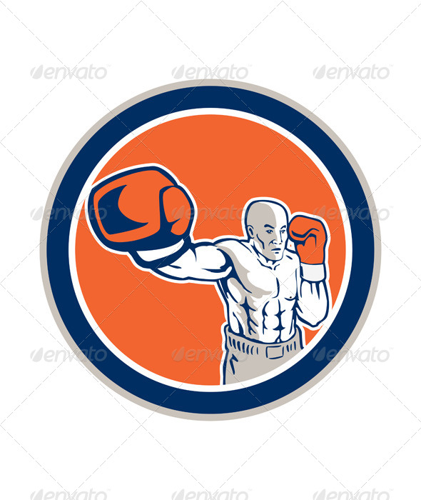 GraphicRiver Boxer Boxing Jabbing in Circle 8245559