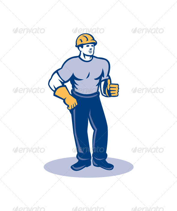 GraphicRiver Construction Worker Thumbs Up Retro 8245572