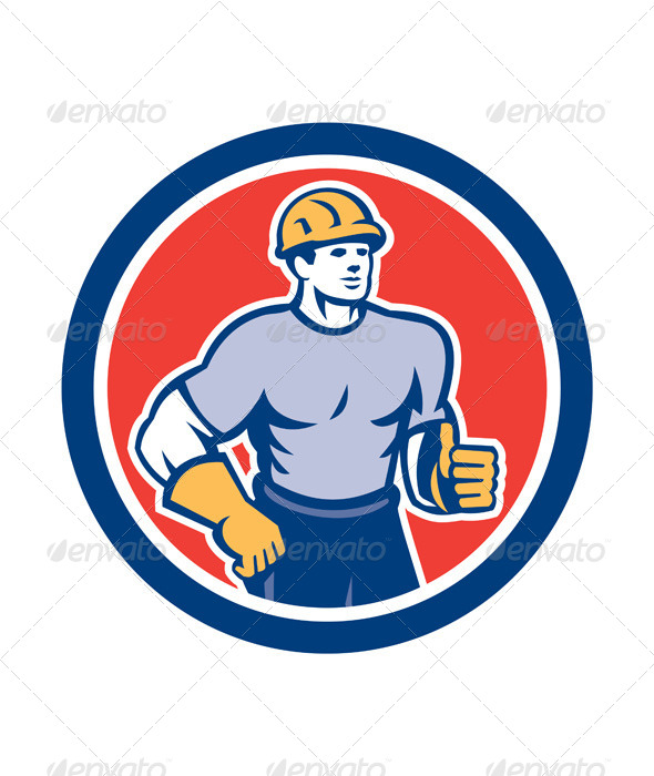 GraphicRiver Construction Worker Thumbs Up Circle Retro 8245574