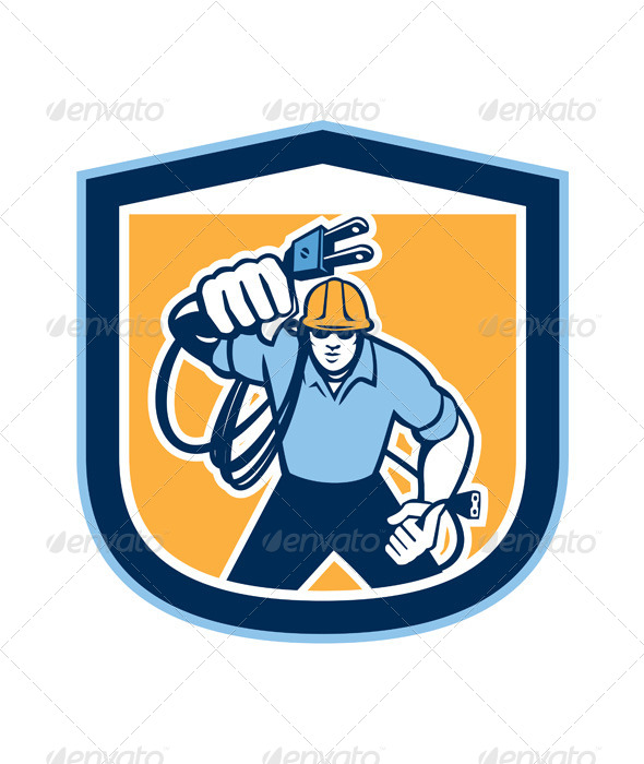 GraphicRiver Electrician with Electric Plug Shield 8245579
