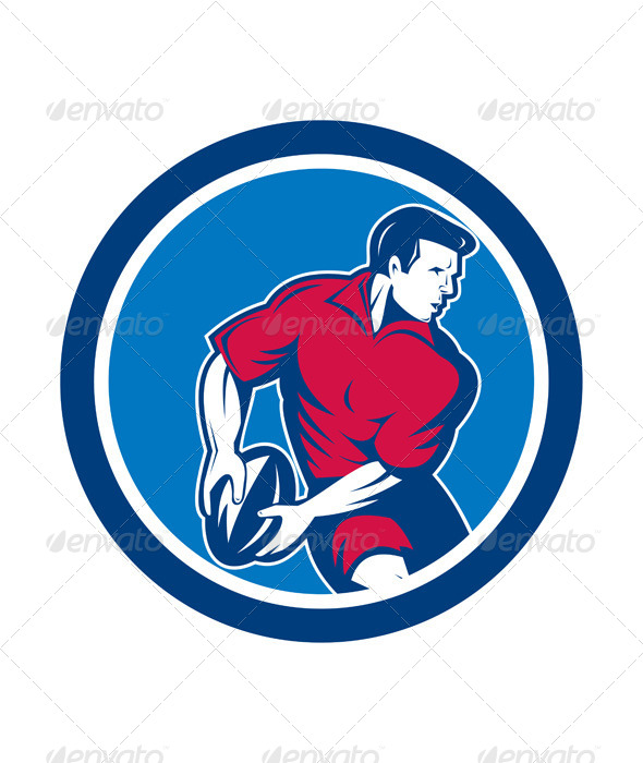 GraphicRiver Rugby Player in Circle 8245592