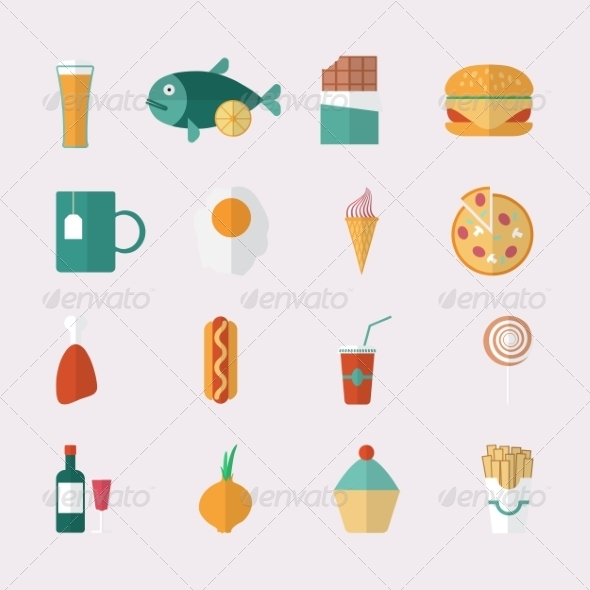 GraphicRiver Flat Style Food Icons 8245597