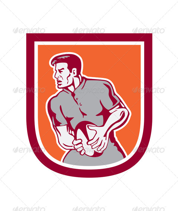 GraphicRiver Rugby Player Sideview Shield 8245607