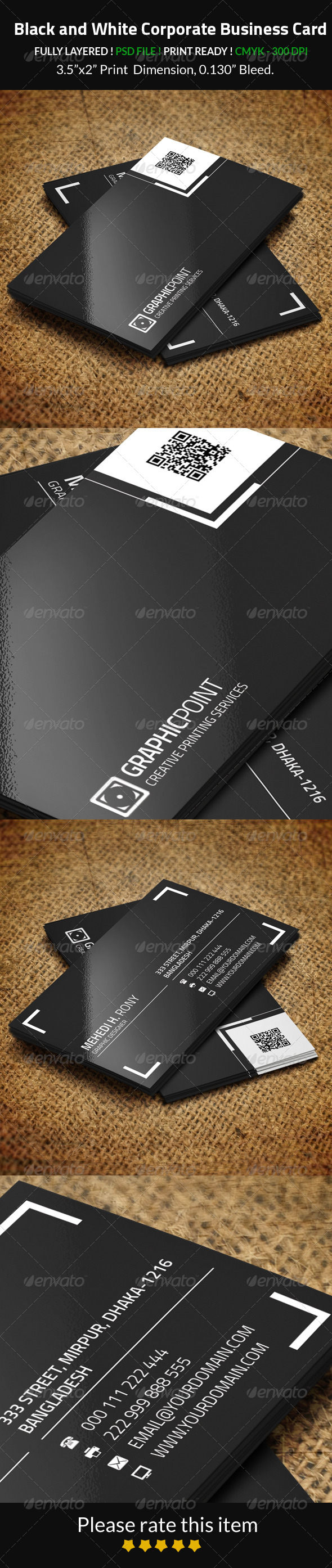GraphicRiver Black and White Corporate Business Card 8245641