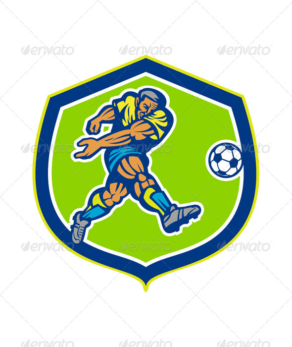 GraphicRiver Soccer Football Player Kicking Ball Retro 8245654