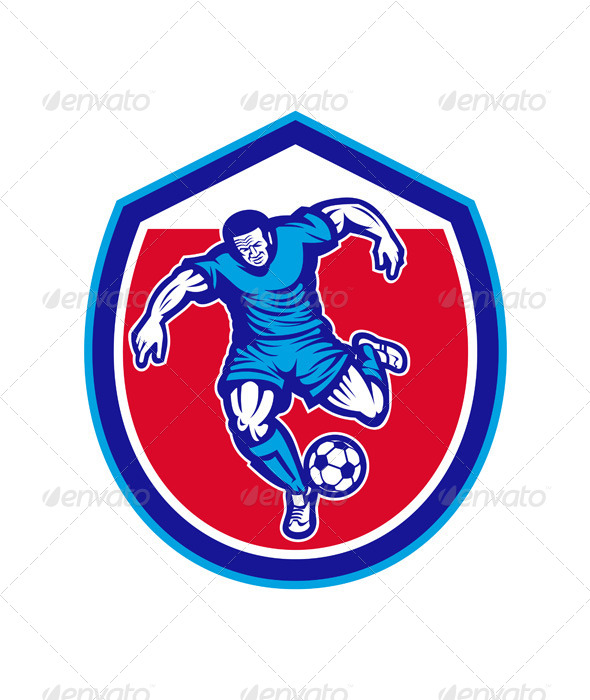 GraphicRiver Soccer Player Running Kicking Ball Retro 8245669