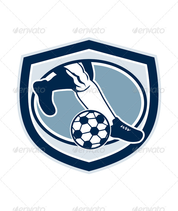 GraphicRiver Kicking Soccer Ball Shield Retro 8245672