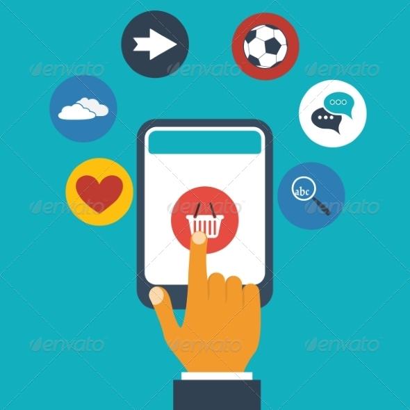 GraphicRiver Finger Presses Icon on Screen 8245678