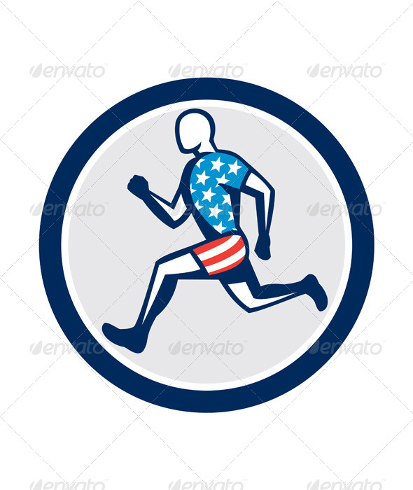 GraphicRiver American Sprinter Running Circle 8245713