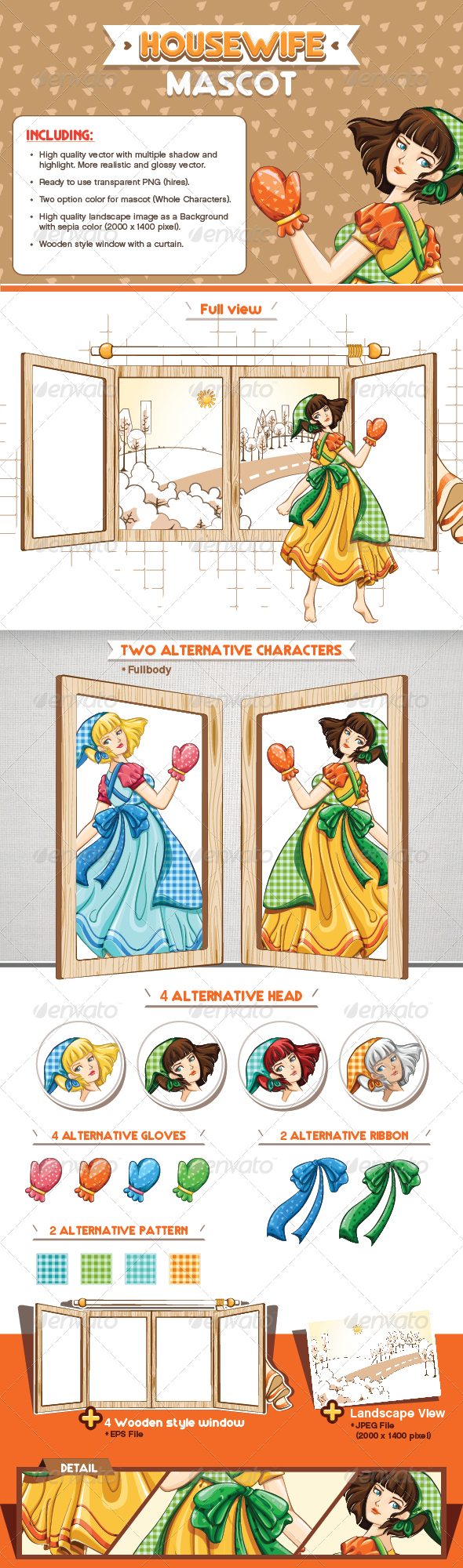 GraphicRiver Housewife Mascot 8245715