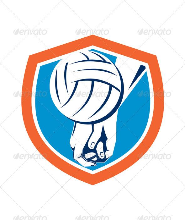 GraphicRiver Volleyball Ball Shield Retro 8245723