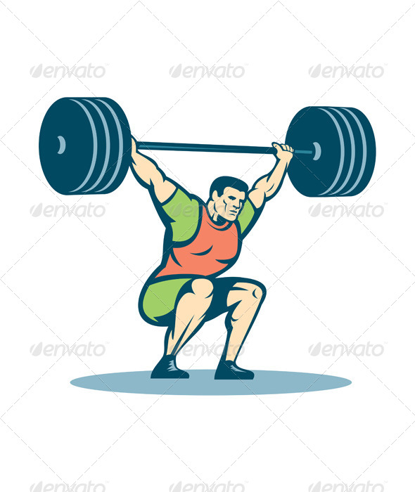 GraphicRiver Weightlifter with Barbell Retro 8245728