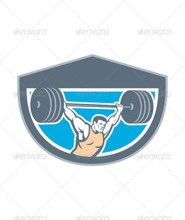 GraphicRiver Weightlifter with Barbell Shield 8245735