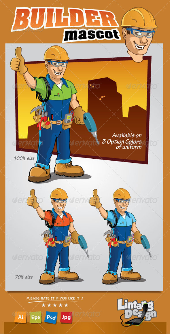 GraphicRiver Builder Mascot 8245736