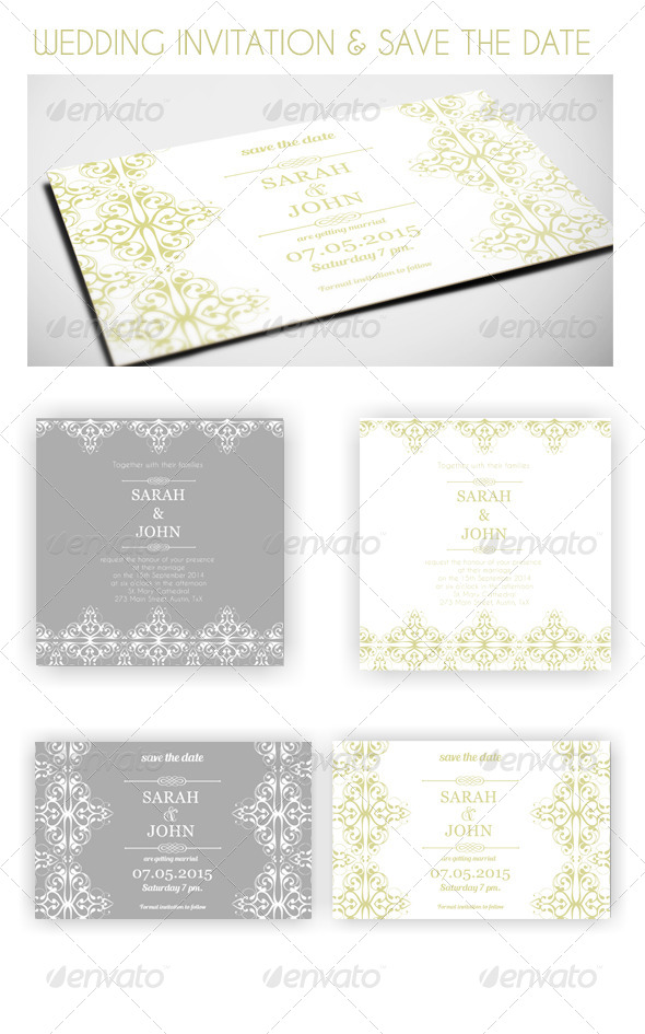 GraphicRiver Classic Wedding Invitation and Save the Date 8245823