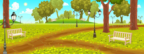 GraphicRiver Park with Benches and Street Lamps 8246016