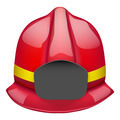 Red fireman glossy helmet. Isolated on white background. Bitmap copy. - PhotoDune Item for Sale
